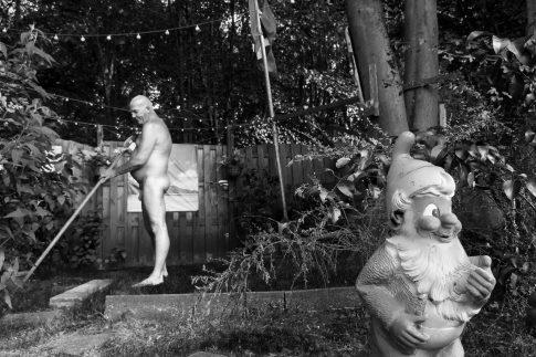 John taking a shower - Documentary Photography